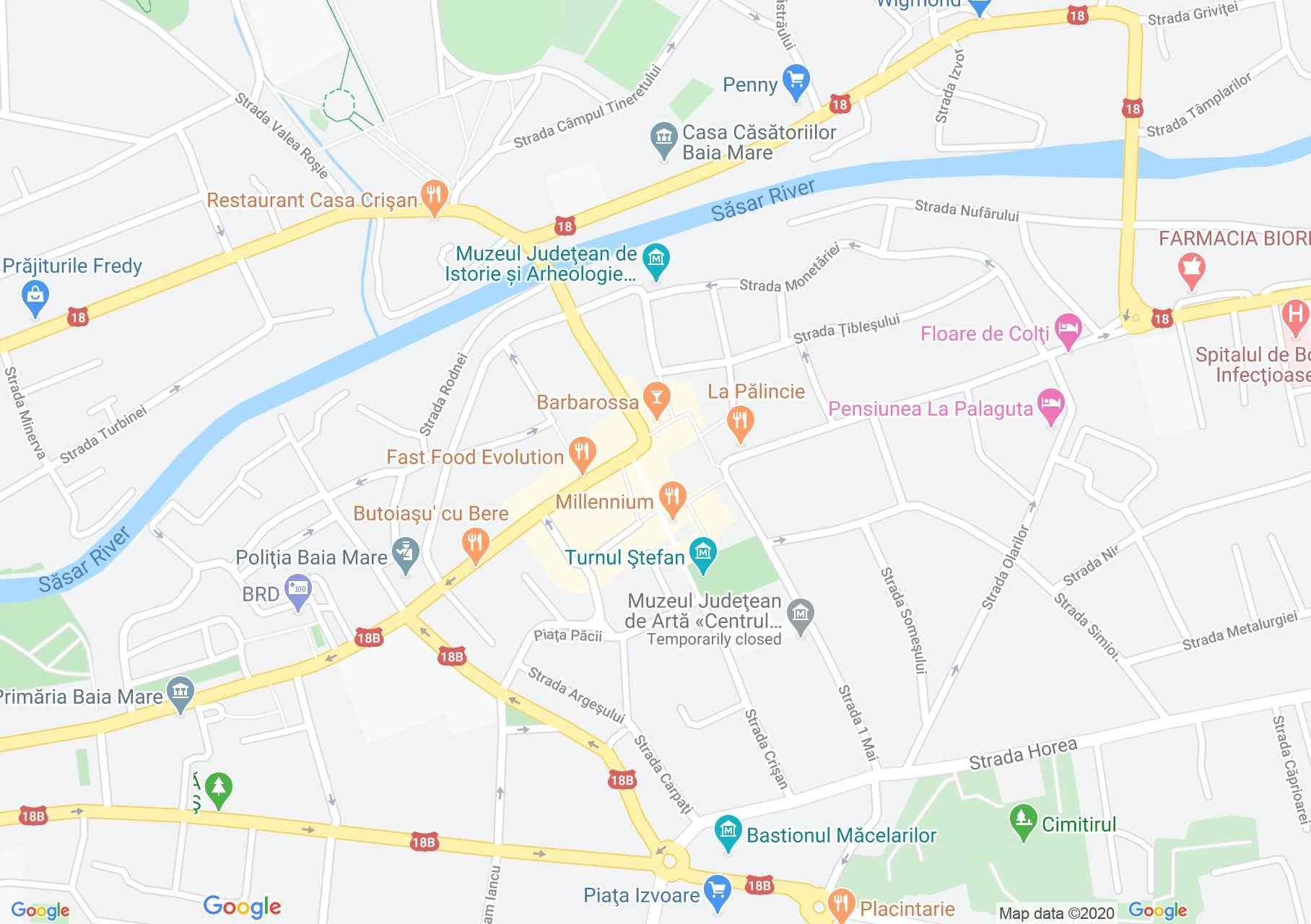 Centrul oraşului Baia Mare, Harta turistică interactivă
