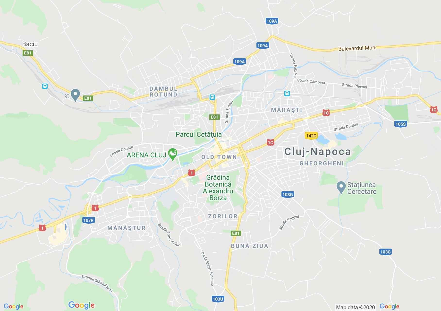 Kolozsvár interaktív turista térképe.