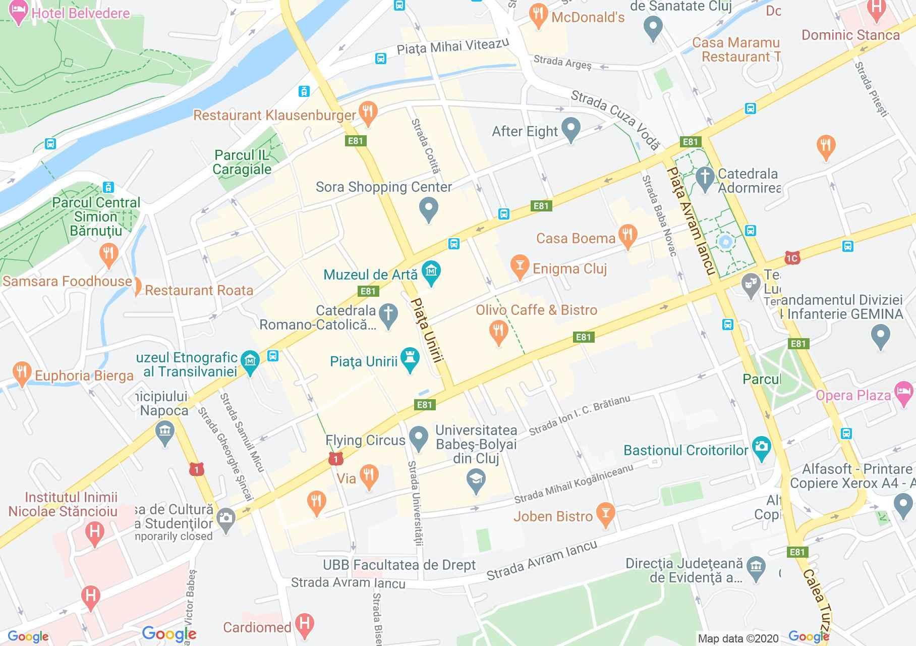 Cluj-Napoca center, Interactive tourist map