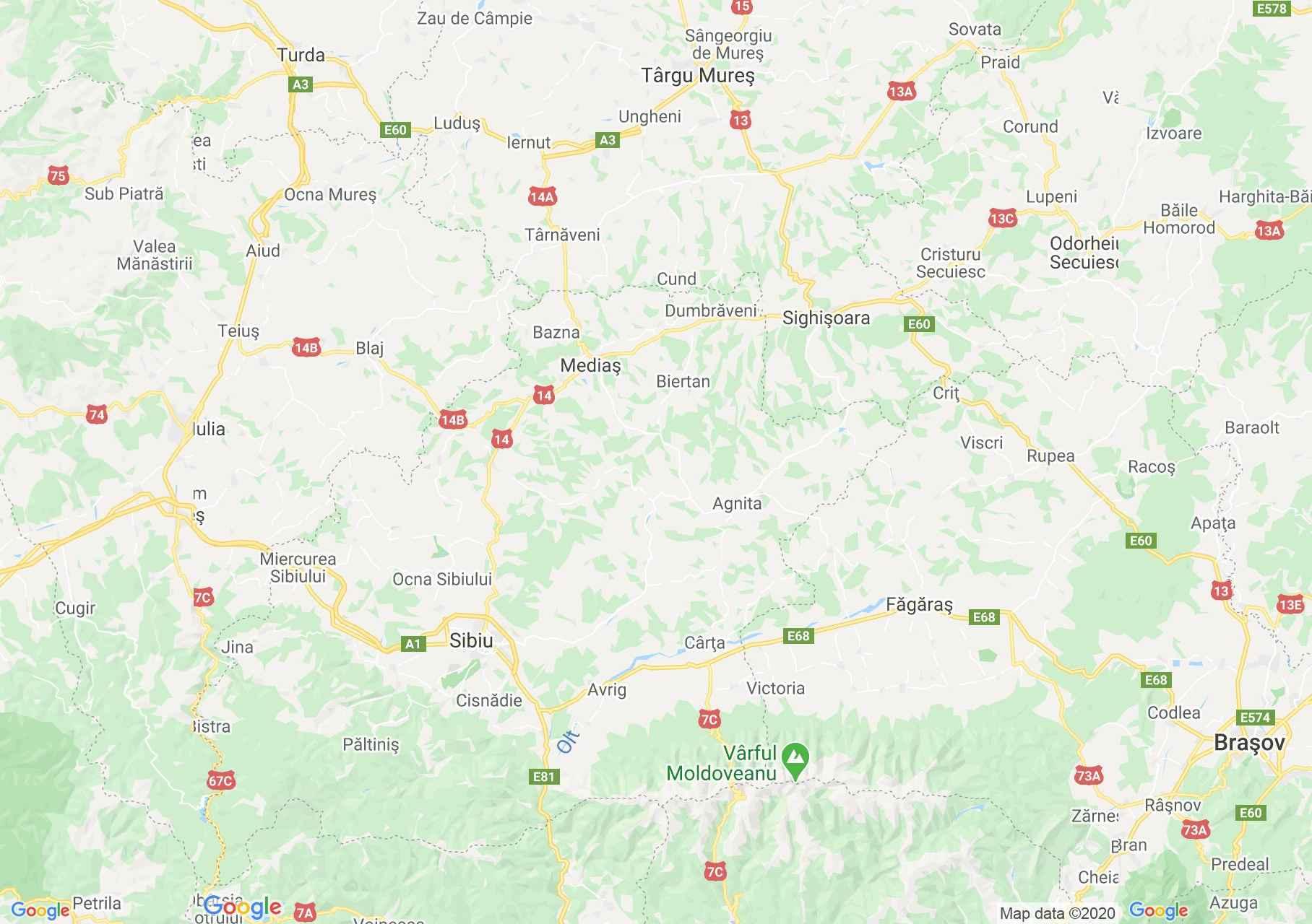 DN14: Sighişoara-Sibiu, Harta turistică interactivă