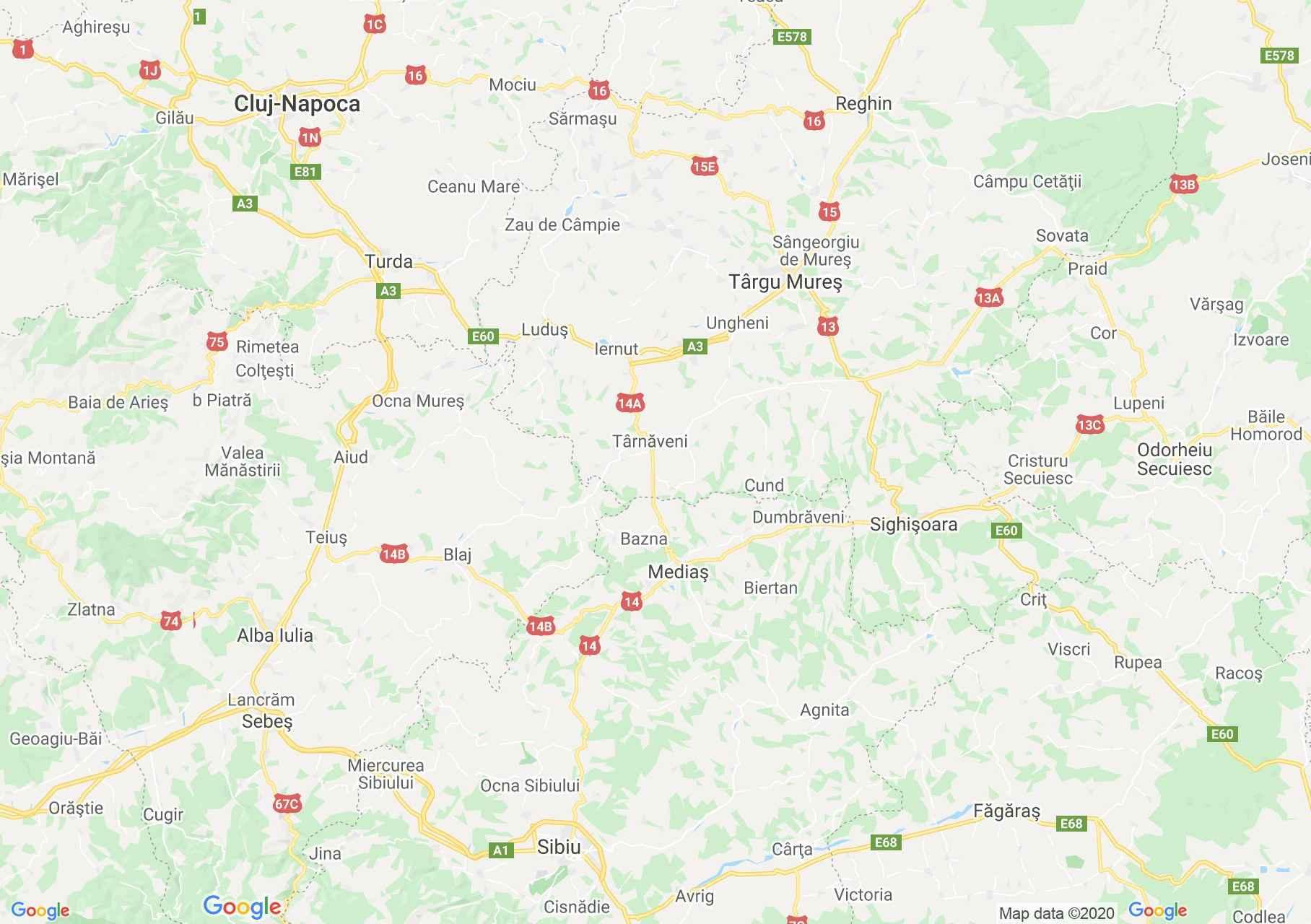 DN14a: Iernut-Mediaş, Harta turistică interactivă