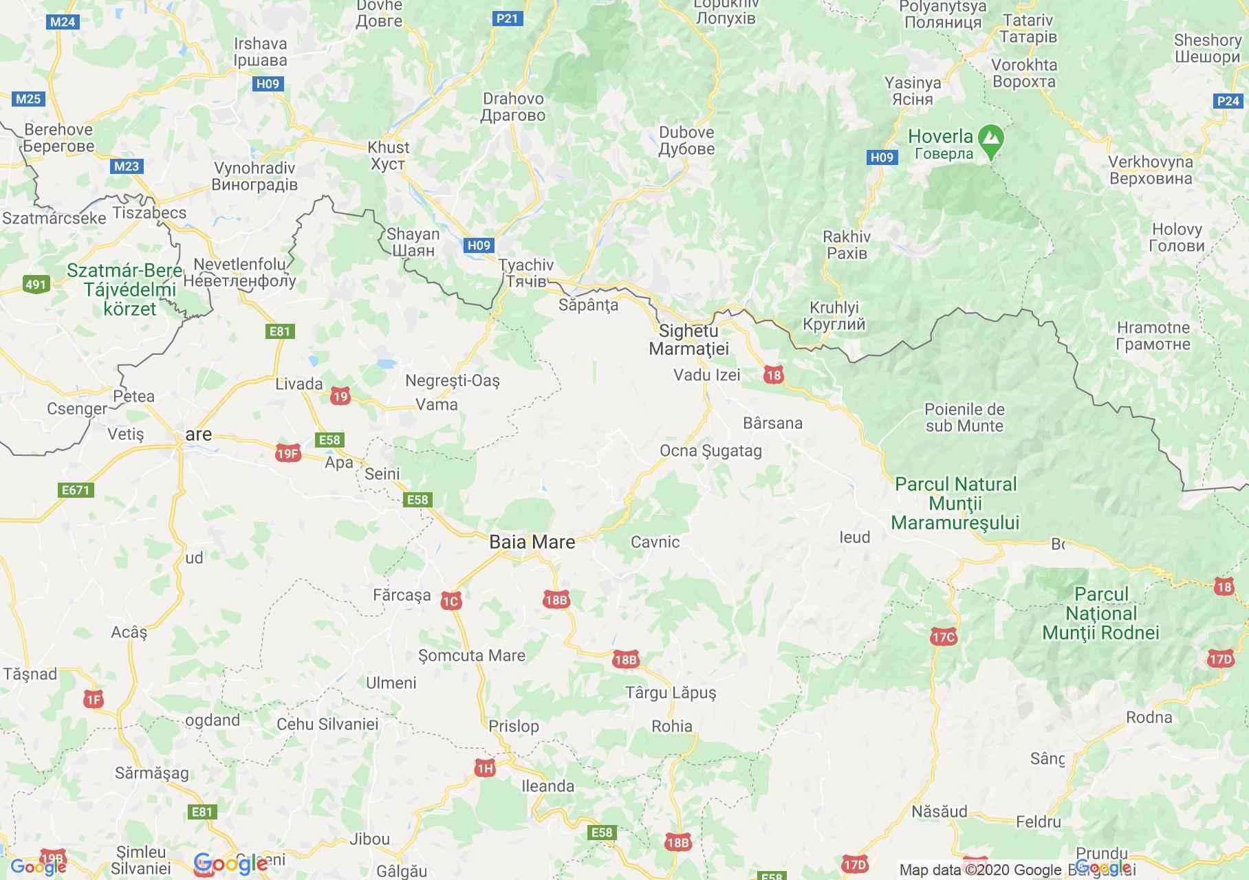 DN18: Sighet-Baia Mare, Harta turistică interactivă