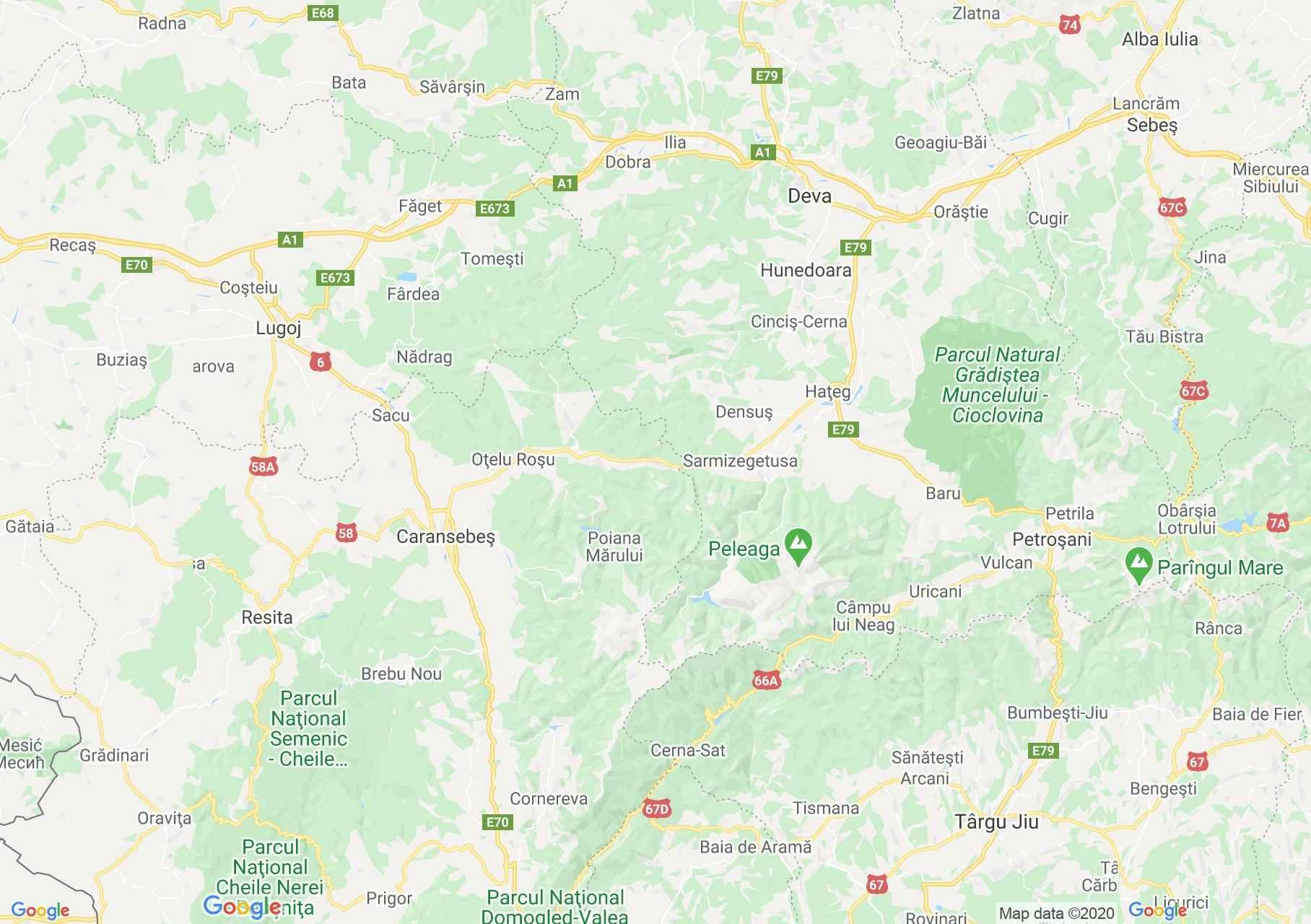 Dn68 Caransebes Haţeg Harta Turistică Interactivă