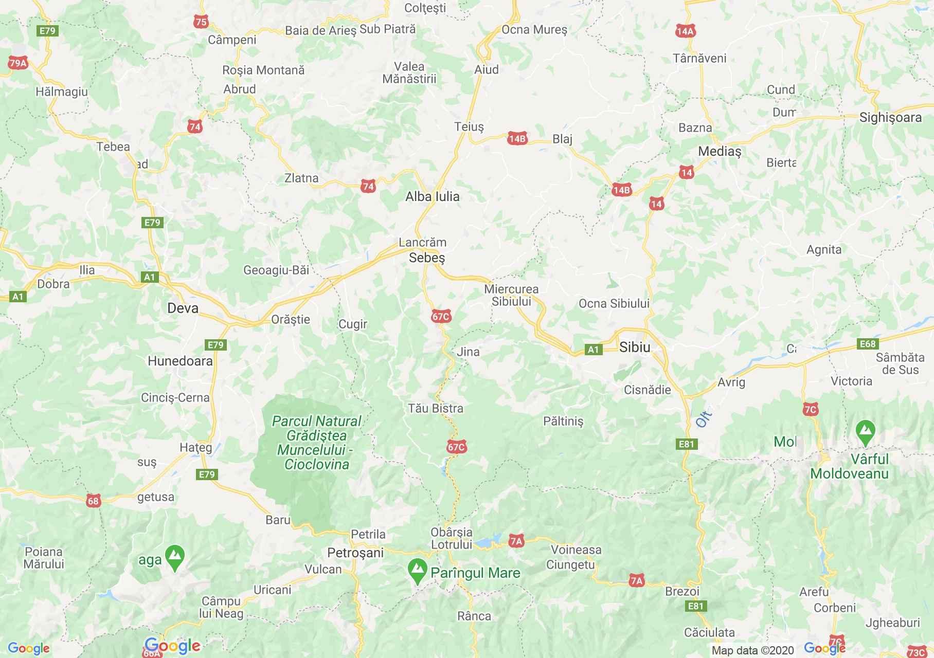 DN7: Deva-Sibiu, Harta turistică interactivă