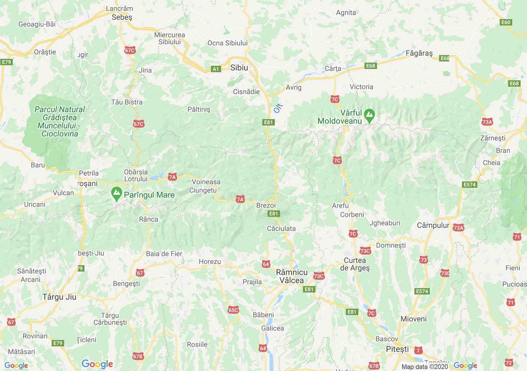 Dn7 Sibiu Ramnicu Valcea Harta Turistică Interactivă