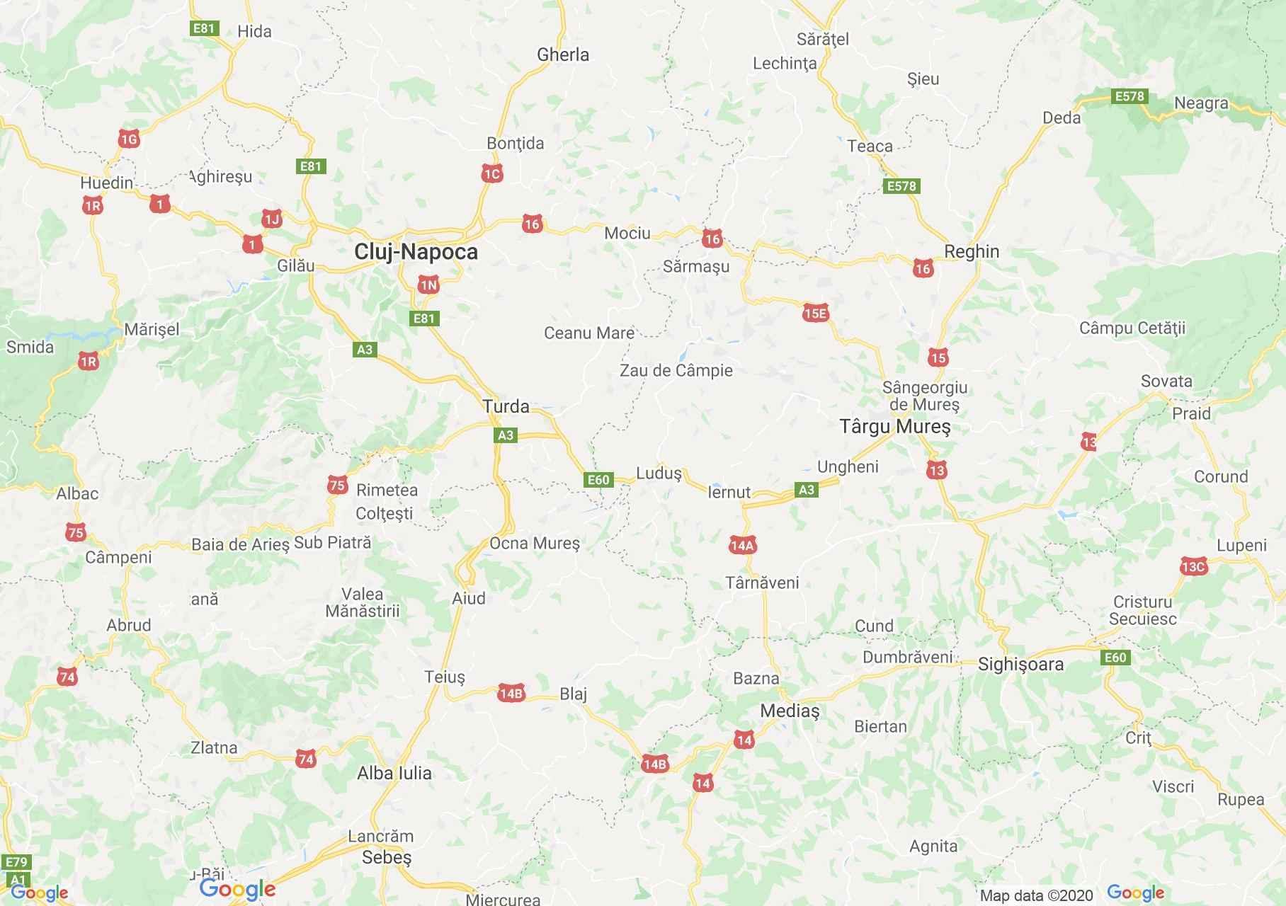 E60/DN1: Cluj-Sighişoara, Harta turistică interactivă