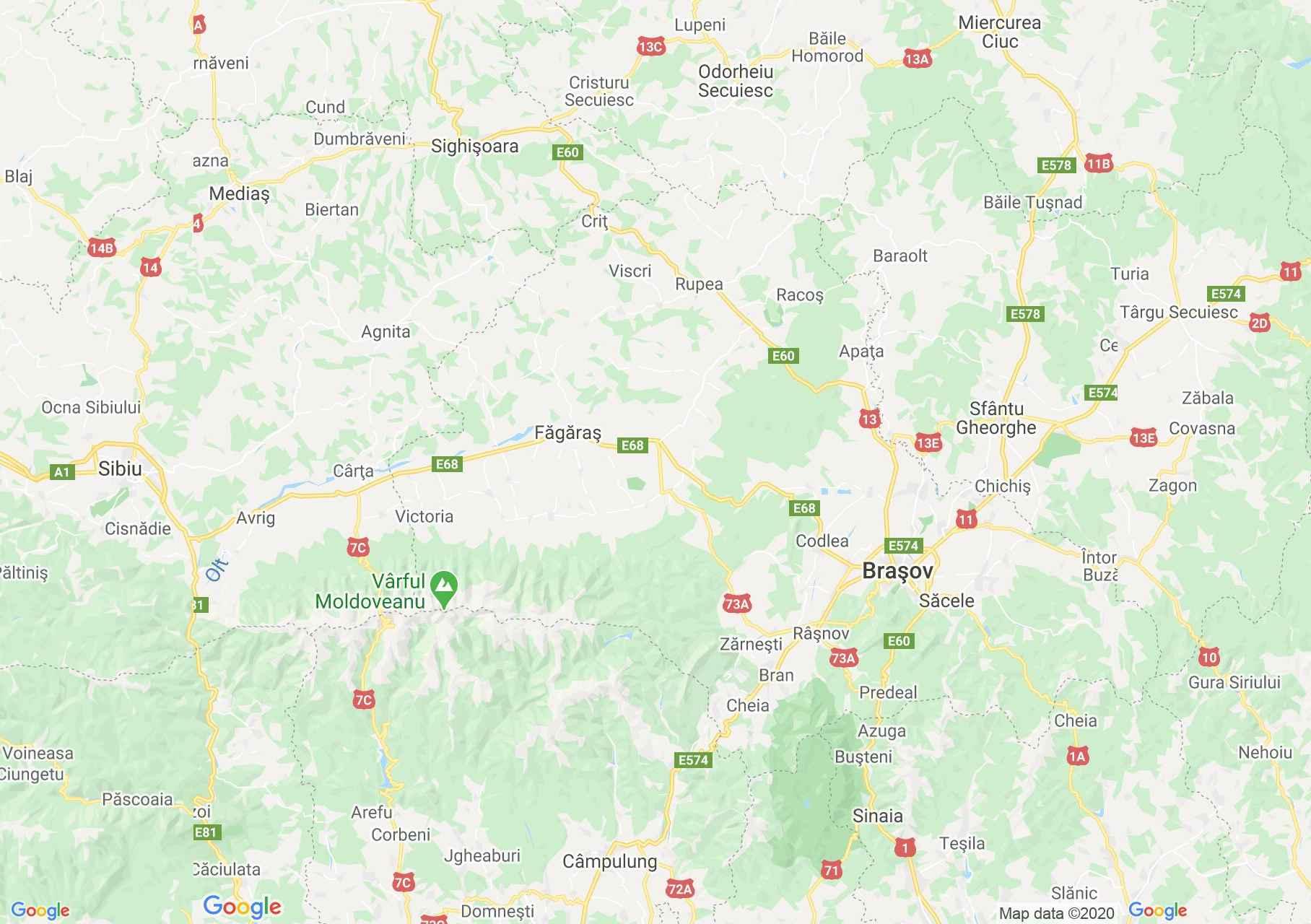 E60/DN1: Sighişoara - Braşov  - Sinaia, Harta turistică interactivă