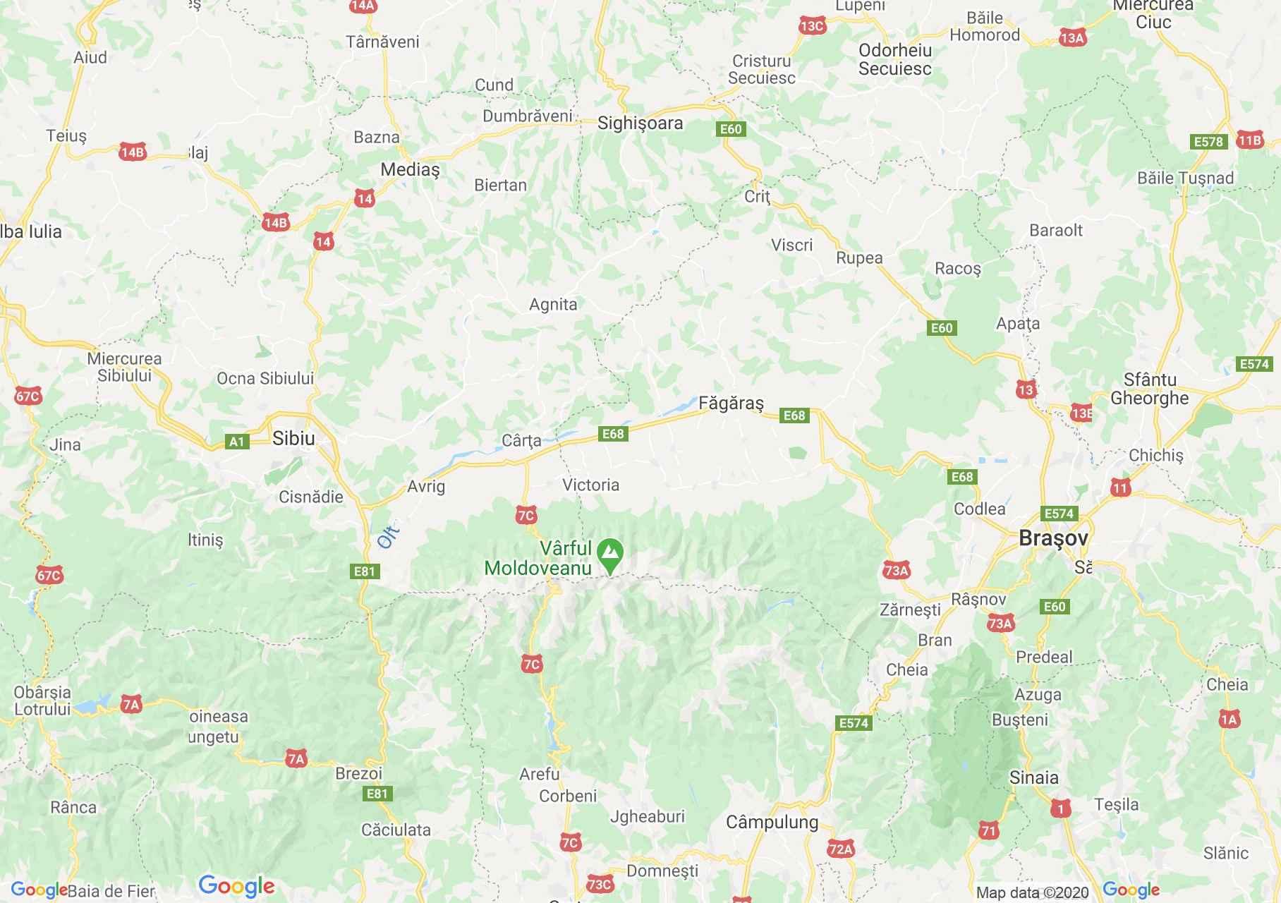 DN1E68: Sibiu-Braşov, Harta turistică interactivă