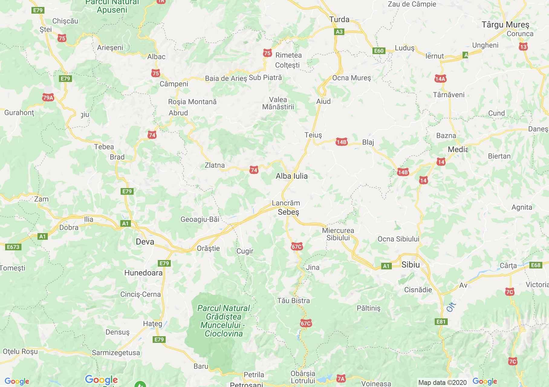 Judeţul Alba: (Alba Iulia), Harta turistică interactivă