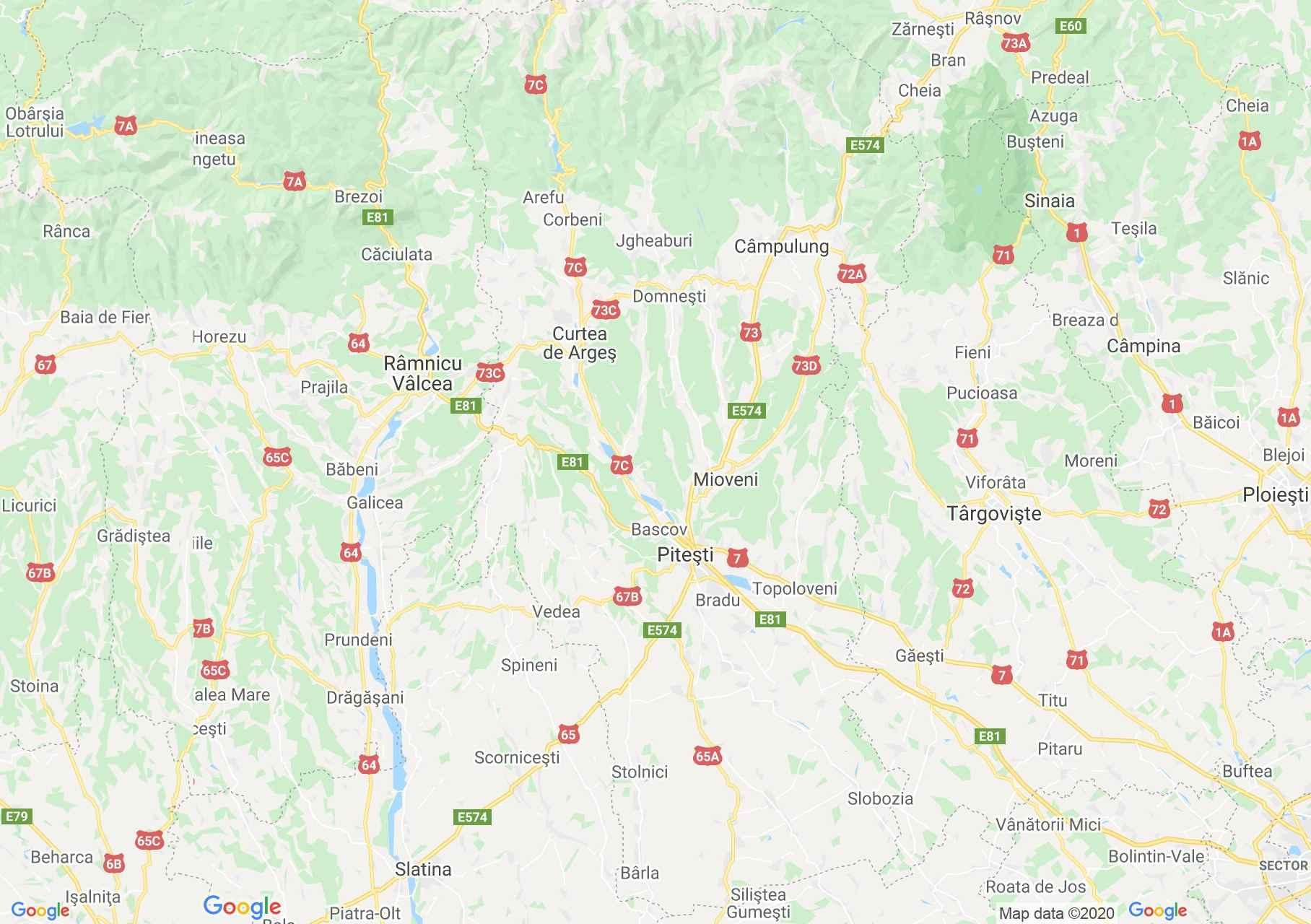 Arges megye: (Pitesti) interaktív turista térképe.