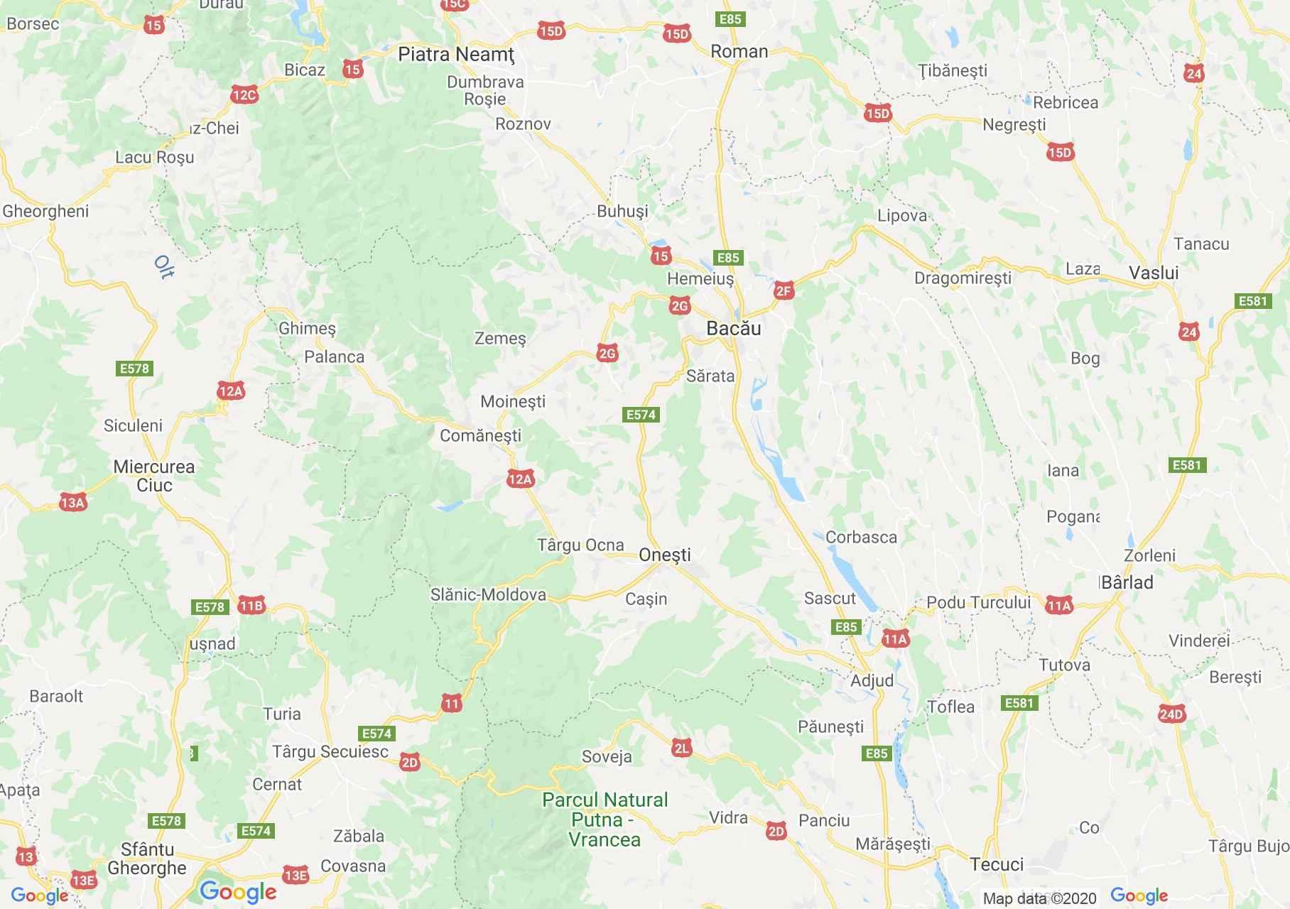 Judeţul Bacău: (Bacău), Harta turistică interactivă