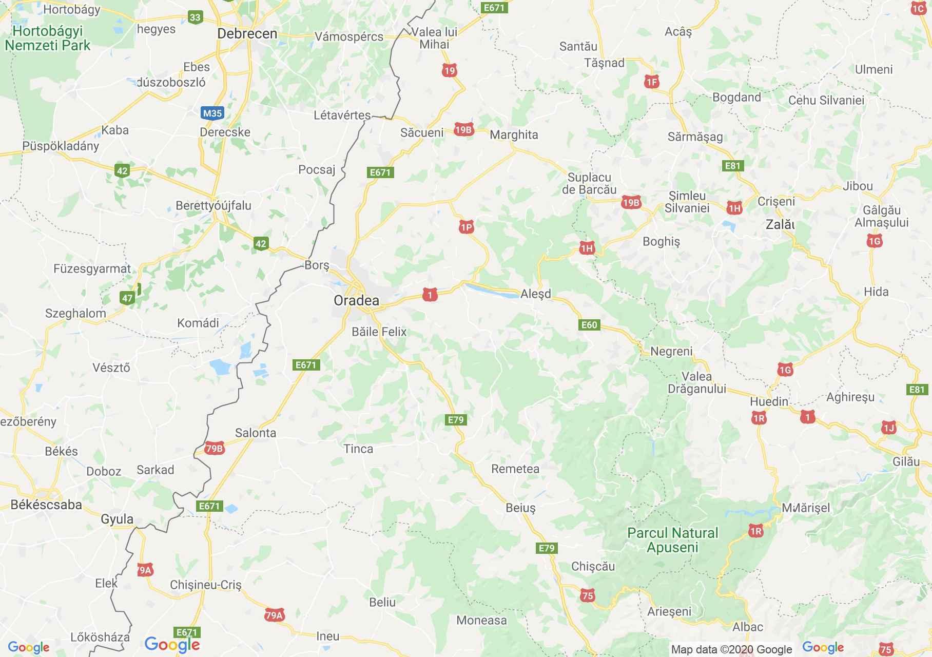 Judeţul Bihor: (Oradea), Harta turistică interactivă
