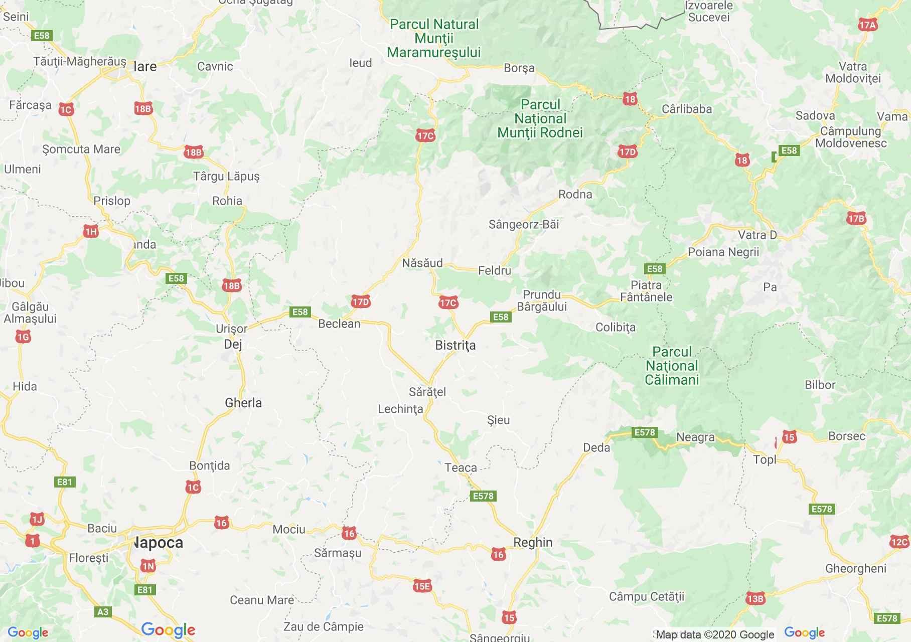 Judeţul Bistriţa-Năsăud: (Bistrița), Harta turistică interactivă