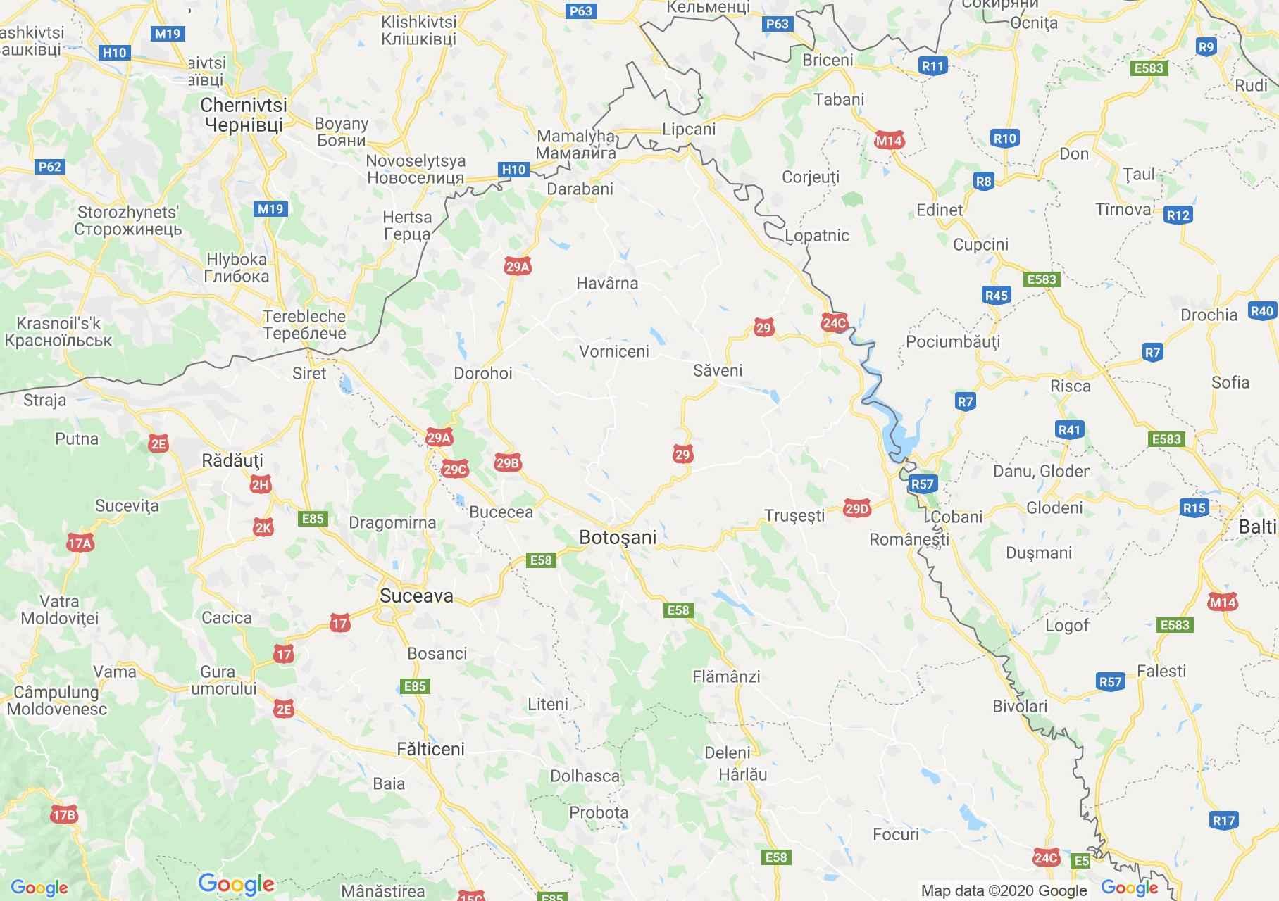 Judeţul Botoşani: (Botoșani), Harta turistică interactivă