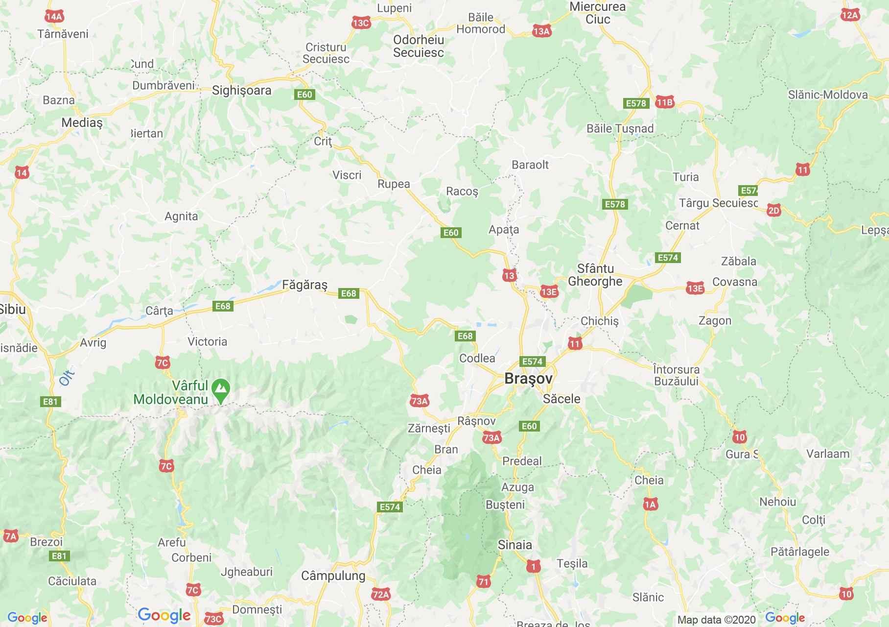 Judeţul Braşov: (Braşov), Harta turistică interactivă