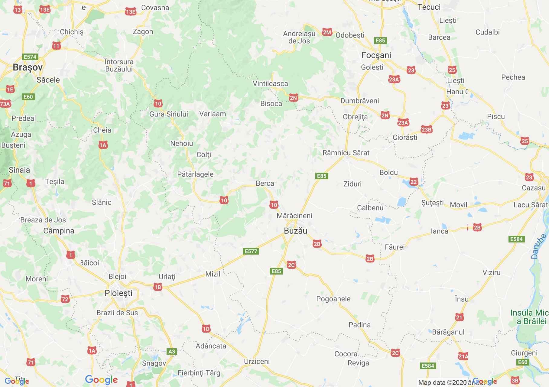 Judeţul Buzău: (Buzău), Harta turistică interactivă