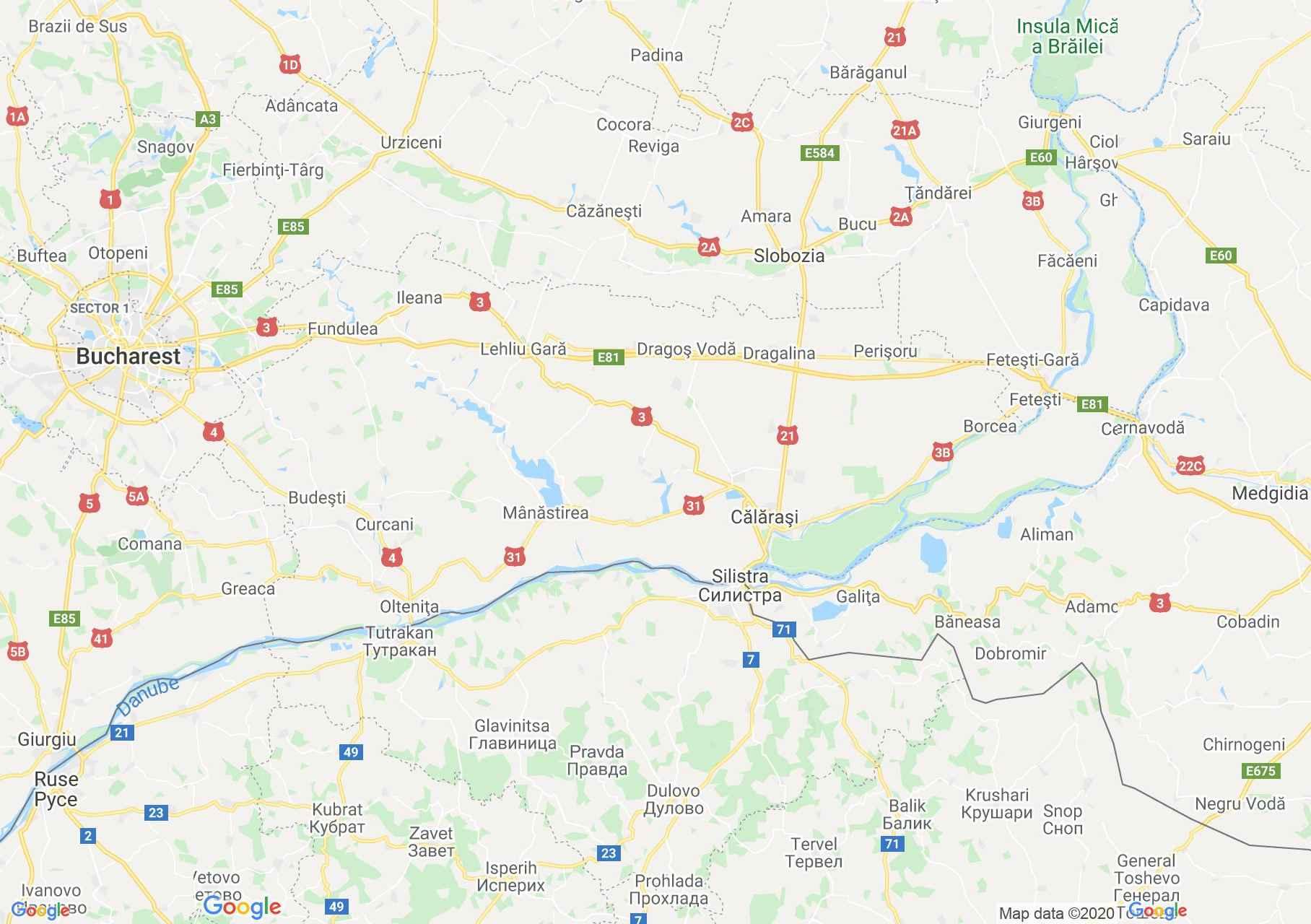 Calaras megye: (Călărași) interaktív turista térképe.