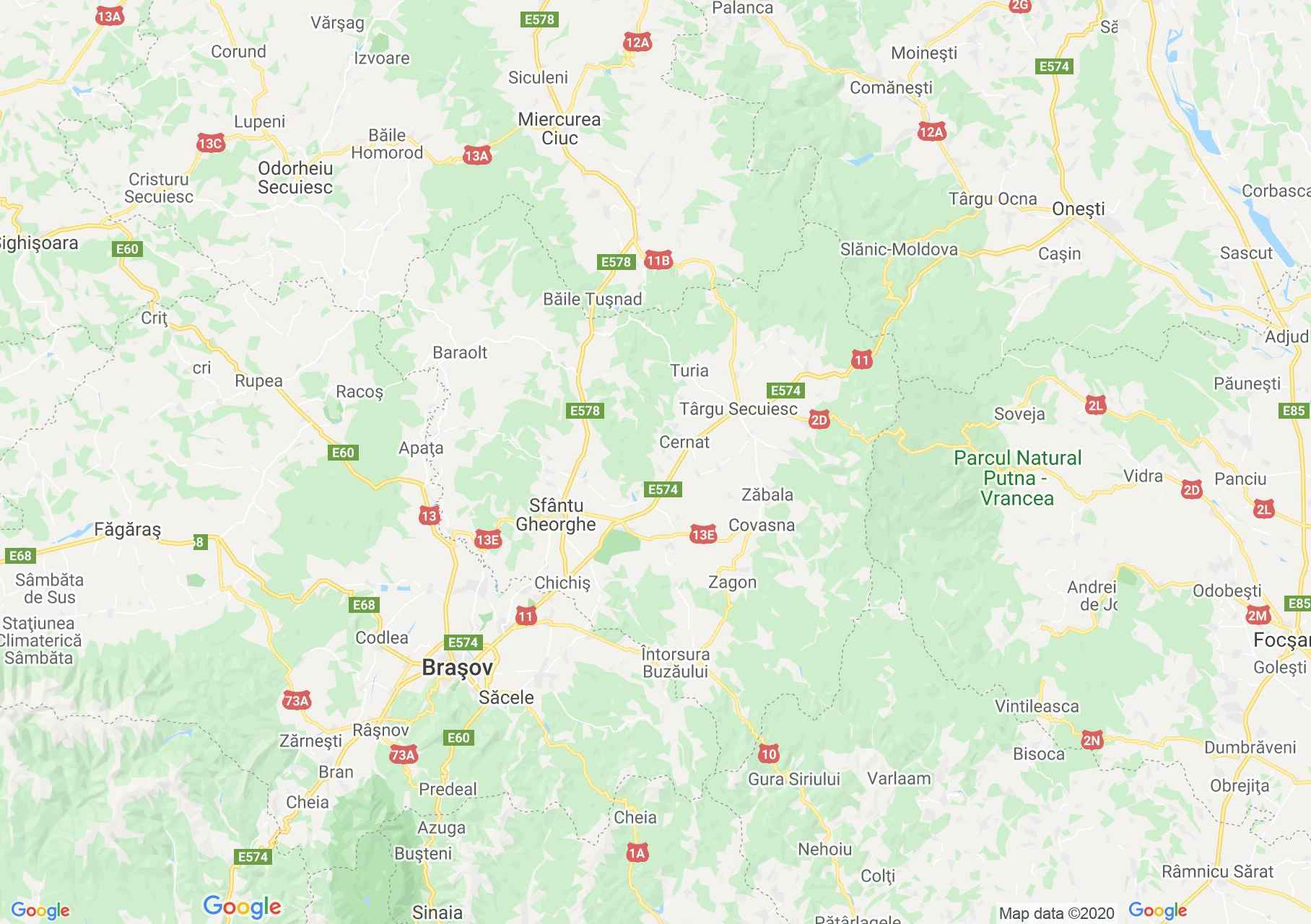 Covasna county: (Sfântu Gheorghe), Interactive tourist map