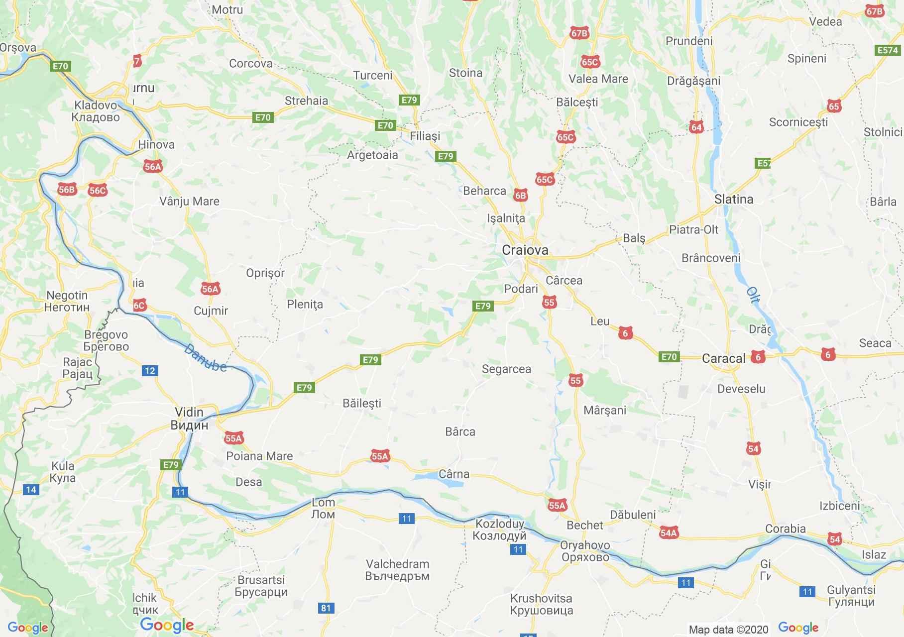 Judeţul Dolj: (Craiova), Harta turistică interactivă