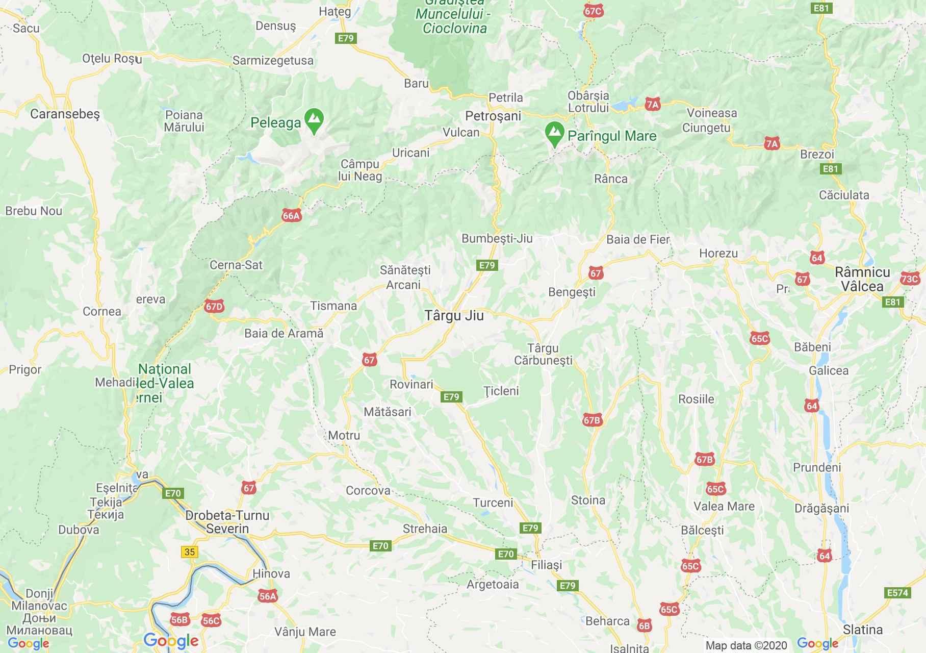 Judeţul Gorj: (Târgu Jiu), Harta turistică interactivă