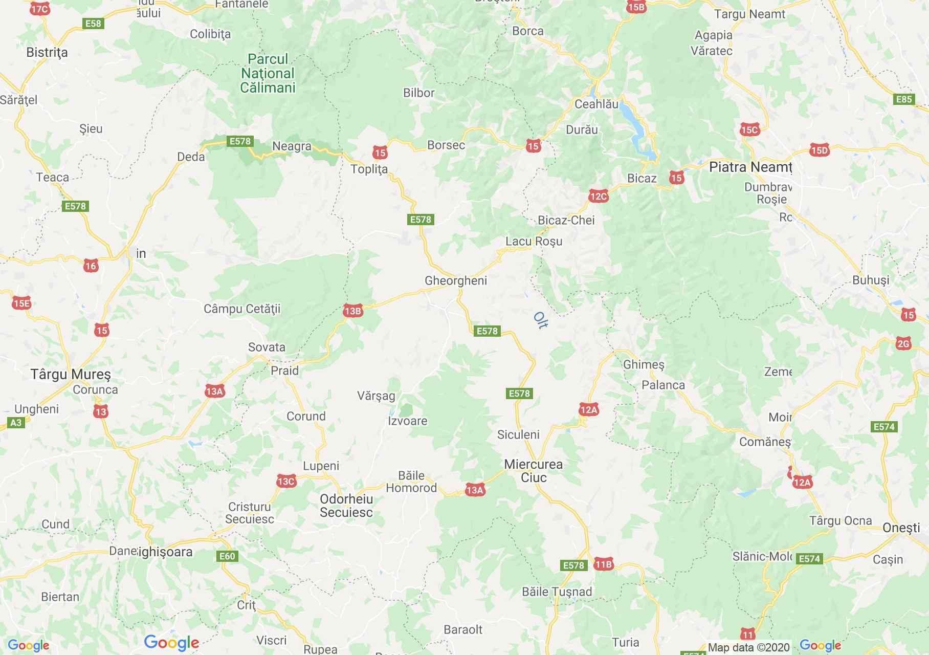 Hargita megye: (Csíkszereda) interaktív turista térképe.