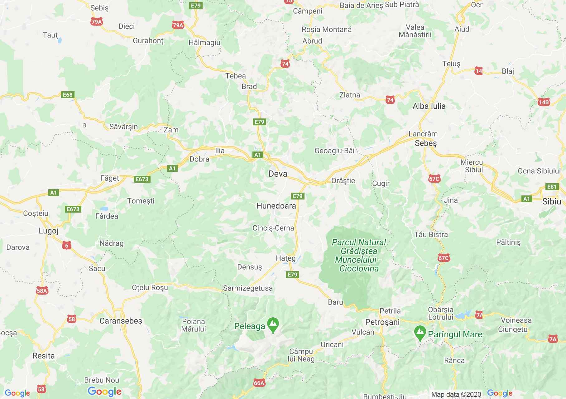 Hunedoara county: (Deva, Interactive tourist map