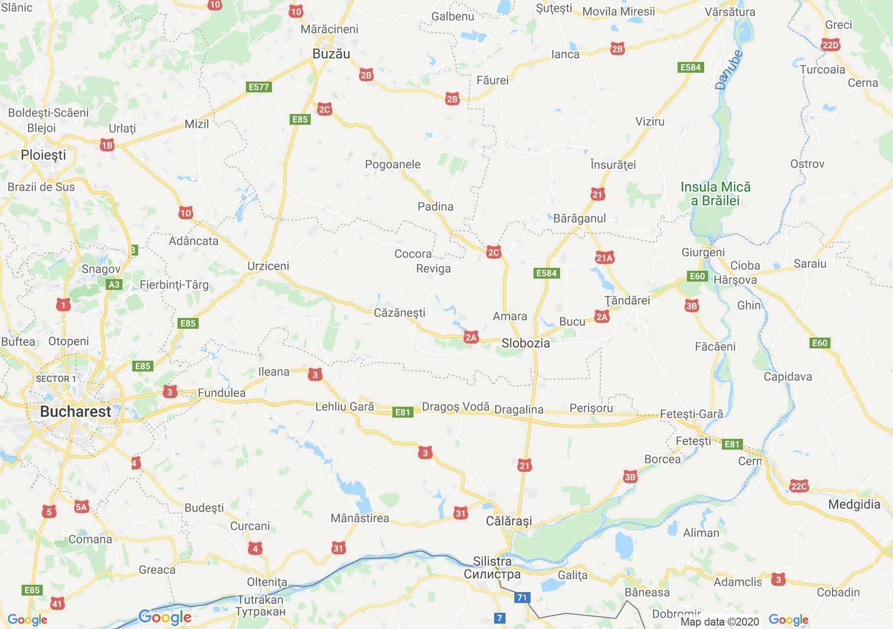 Ialomica megye: (Szlobozia) interaktív turista térképe.