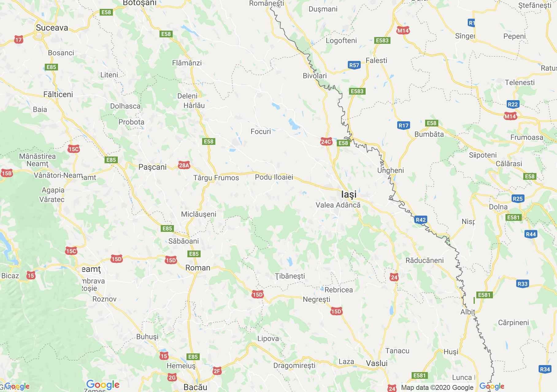 Iasi megye: (Jászvásár) interaktív turista térképe.