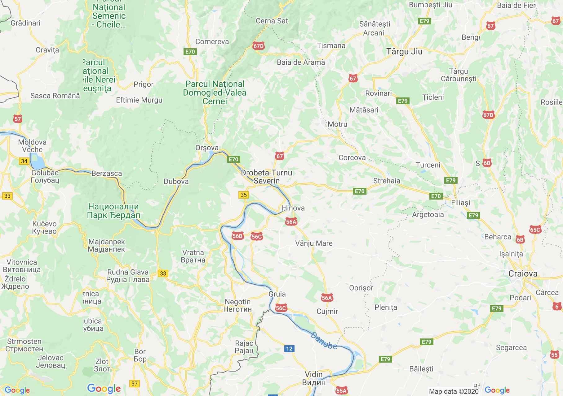 Mehedinc megye: (Turnu Szeverin) interaktív turista térképe.