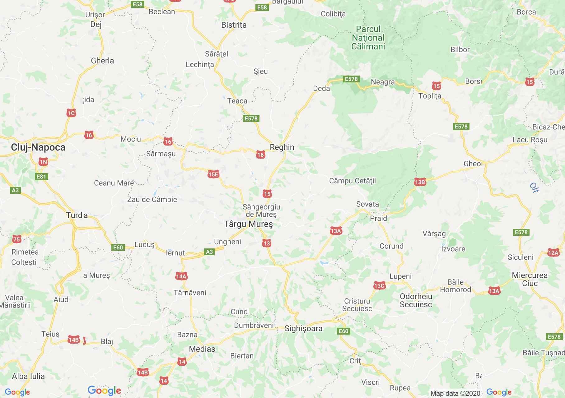 Judeţul Mureş: (Târgu Mureş), Harta turistică interactivă