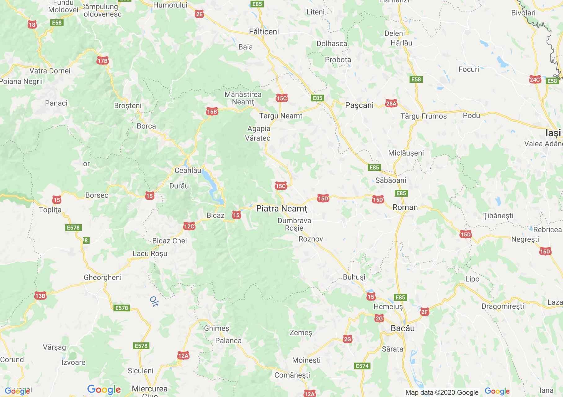 Judeţul Neamţ: (Piatra Neamț), Harta turistică interactivă