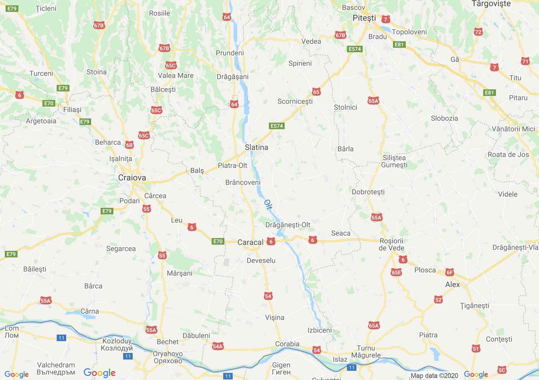 Judeţul Olt: (Slatina), Harta turistică interactivă
