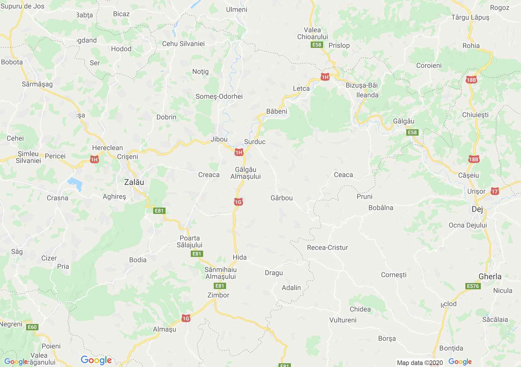 Judeţul Sălaj: (Zalău), Harta turistică interactivă