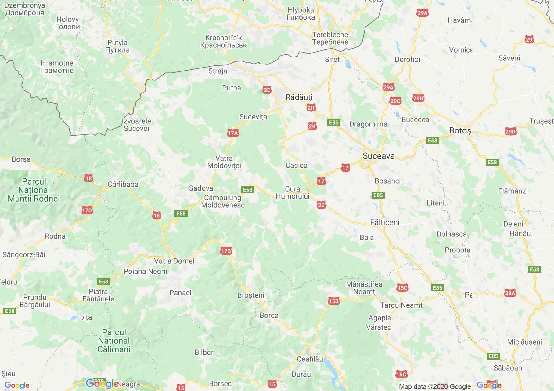 Szucsáva megye: (Szucsáva) interaktív turista térképe.