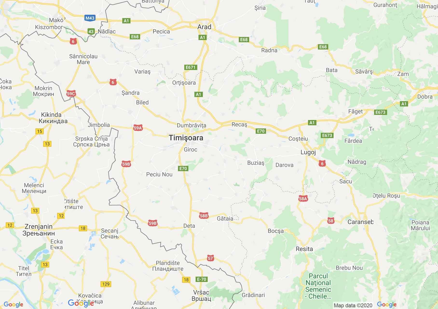 Temes megye: (Temesvár) interaktív turista térképe.