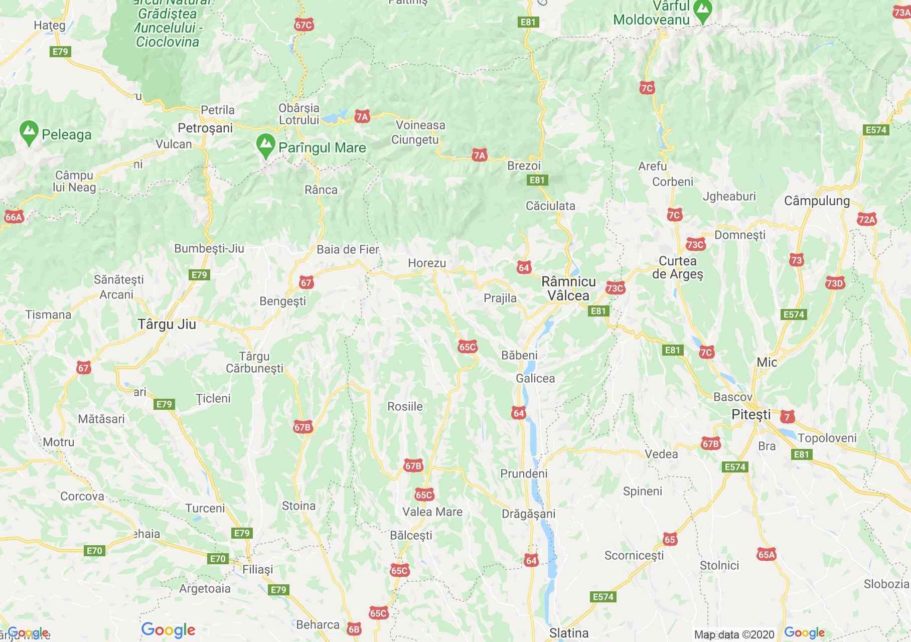 Valcea megye: (Ramnicu Valcea) interaktív turista térképe.