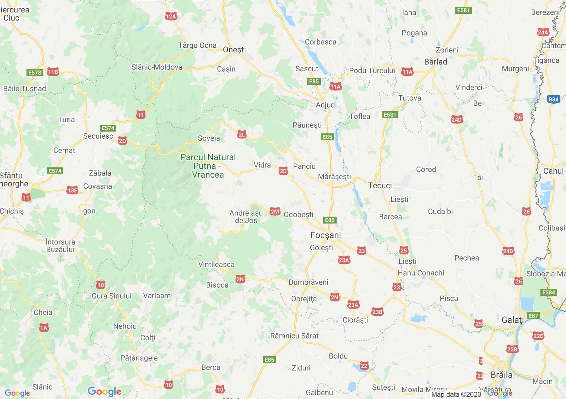 Vrancea megye: (Foksány) interaktív turista térképe.
