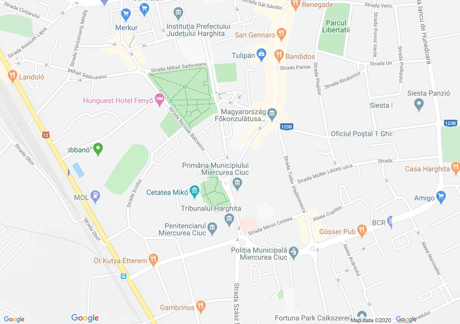 Centrul oraşului Miercurea Ciuc, Harta turistică interactivă