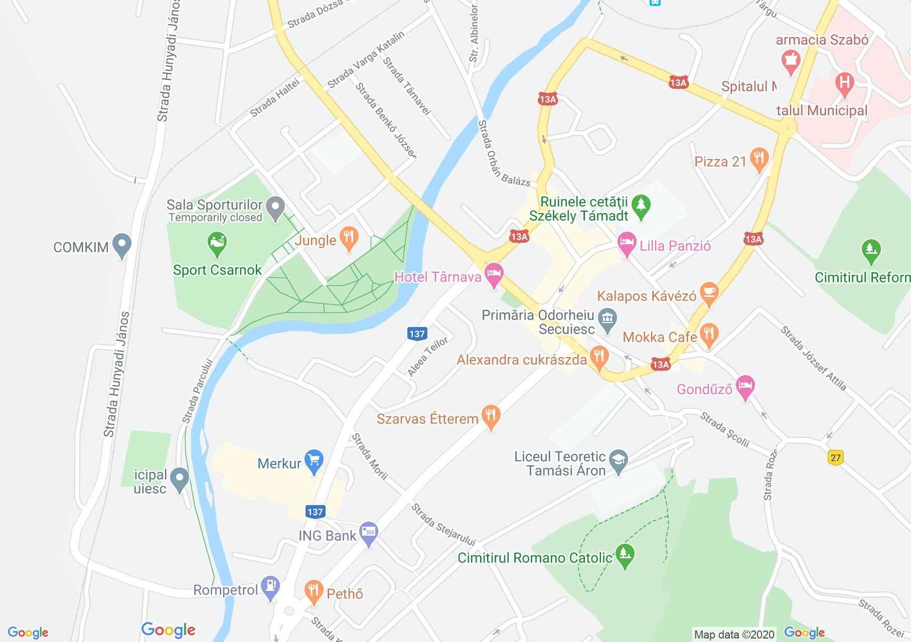 Odorheiu Secuiesc center: (Center), Interactive tourist map