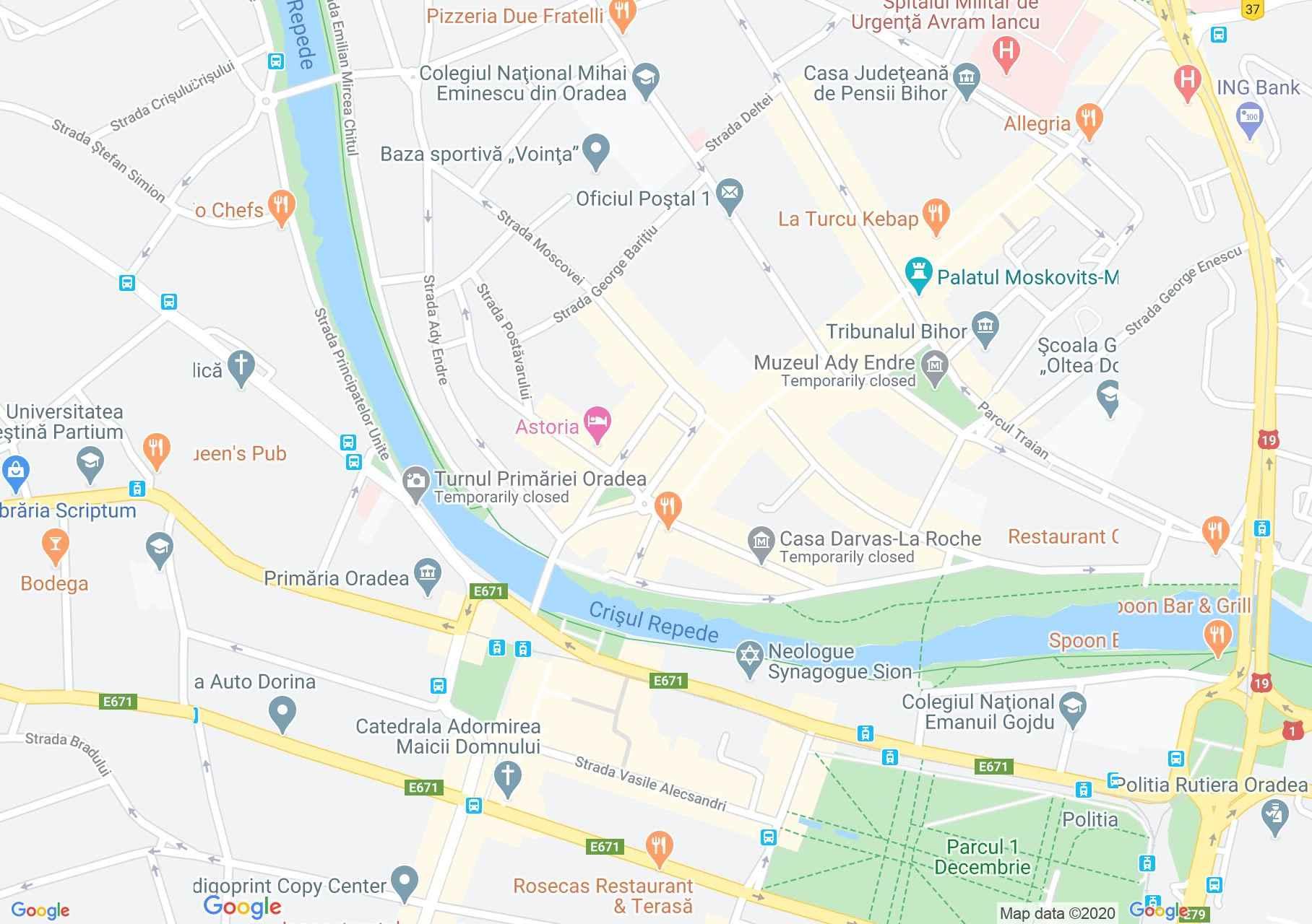 Centrul oraşului Oradea, Harta turistică interactivă