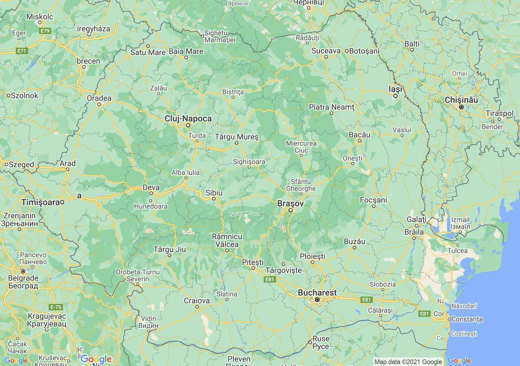 Interactive tourist map of Romania on Google Map