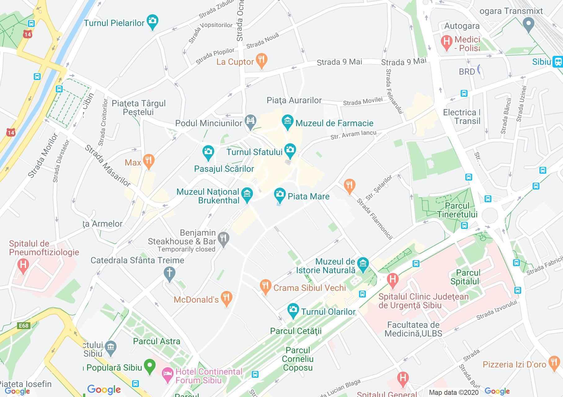 Szeben központja interaktív turista térképe.