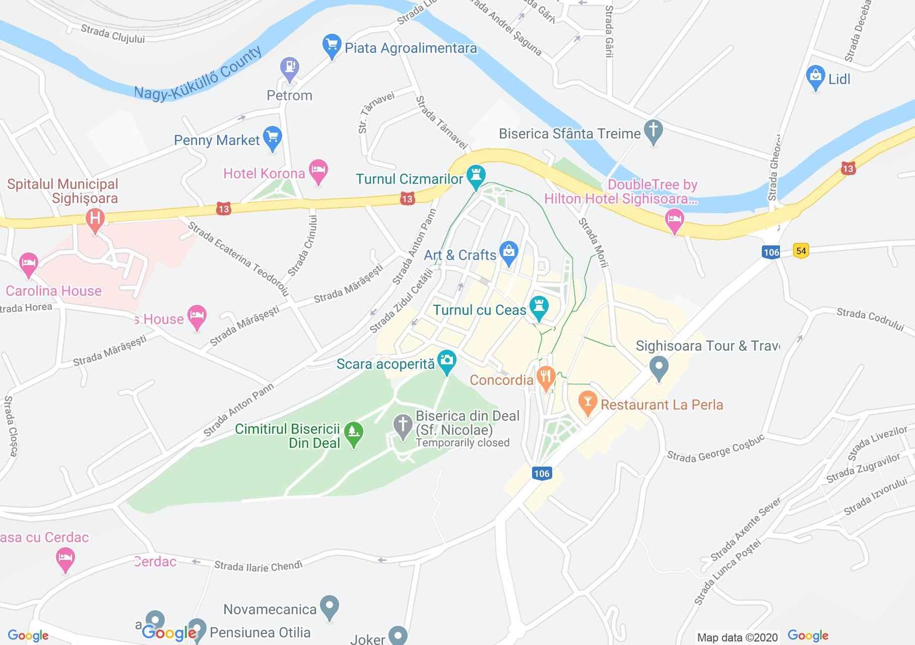 Centrul oraşului Sighişoara, Harta turistică interactivă