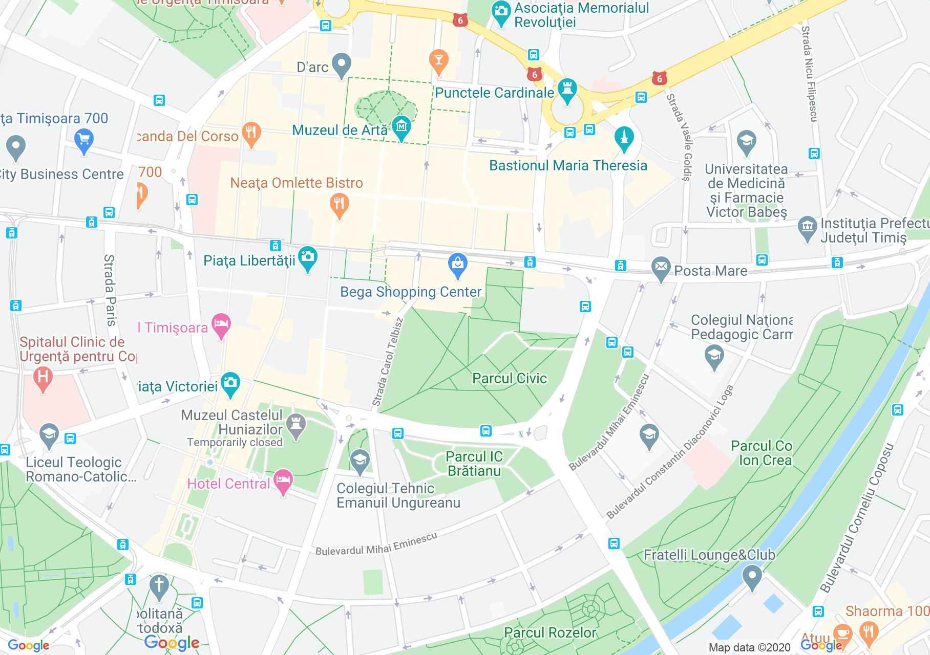 Timişoara center, Interactive tourist map