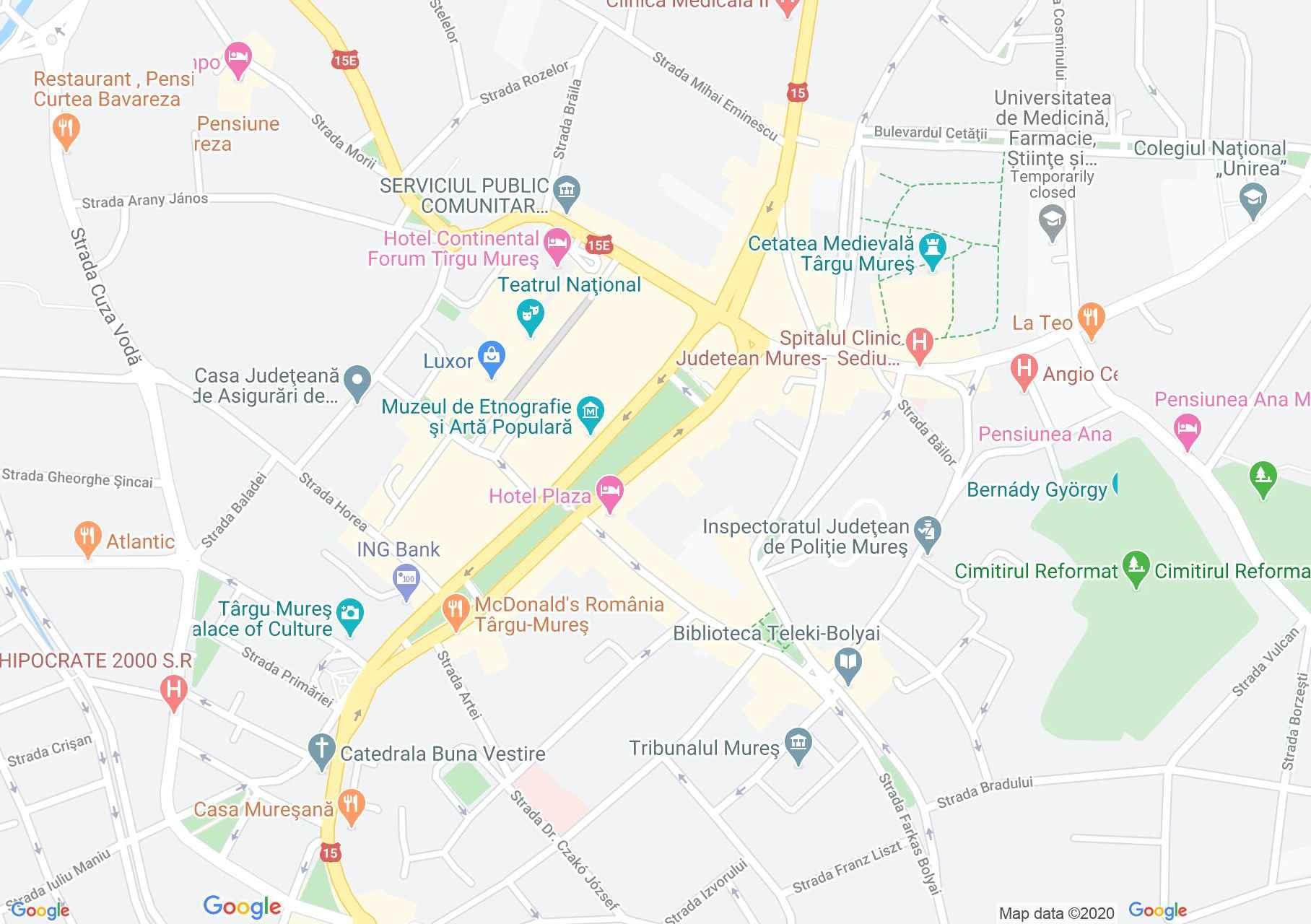 Marosvásárhely központja interaktív turista térképe.