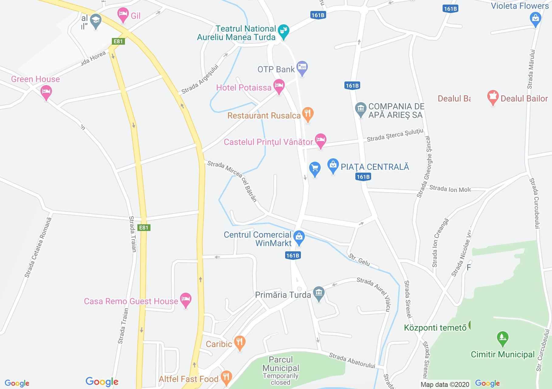 Torda központja interaktív turista térképe.