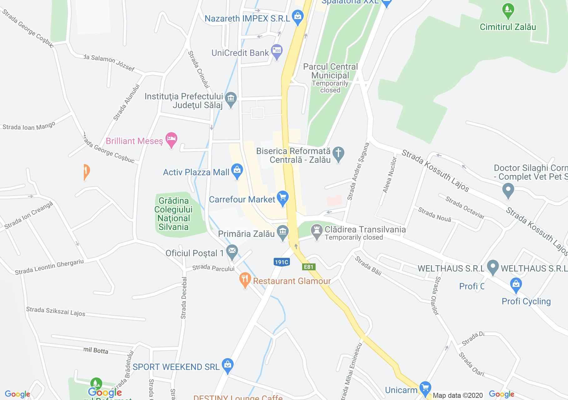 Centrul oraşului Zalău, Harta turistică interactivă