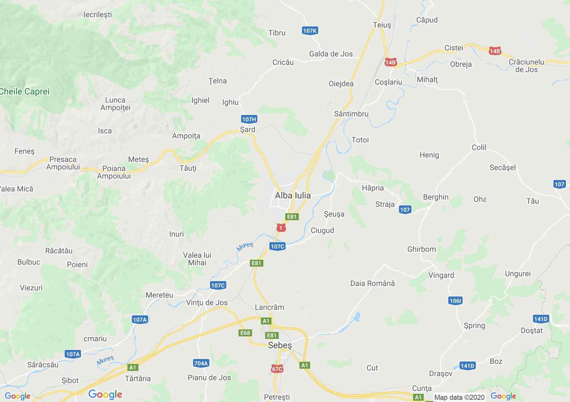 Gyulafehérvár környéke interaktív turista térképe.
