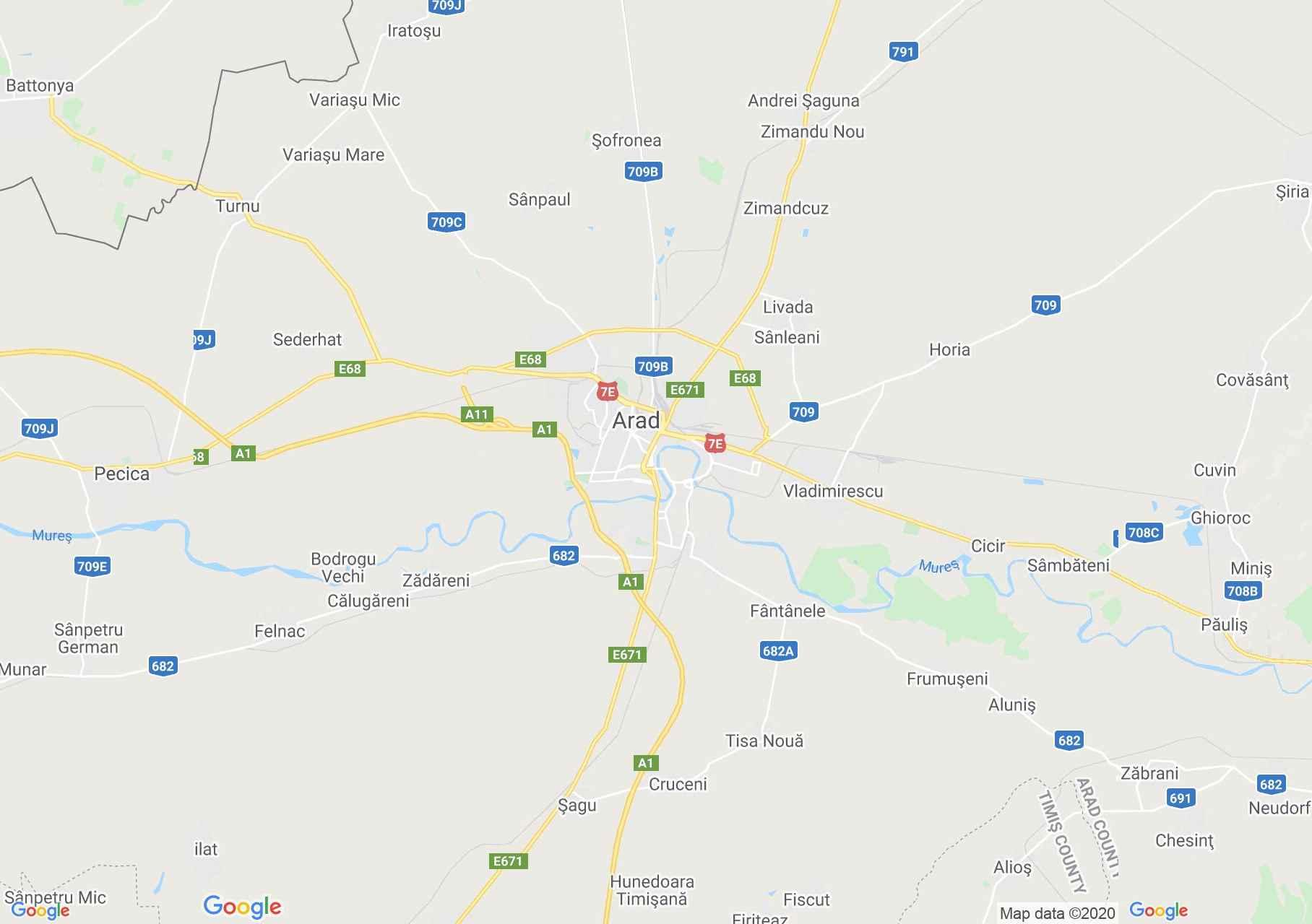 Arad környéke interaktív turista térképe.