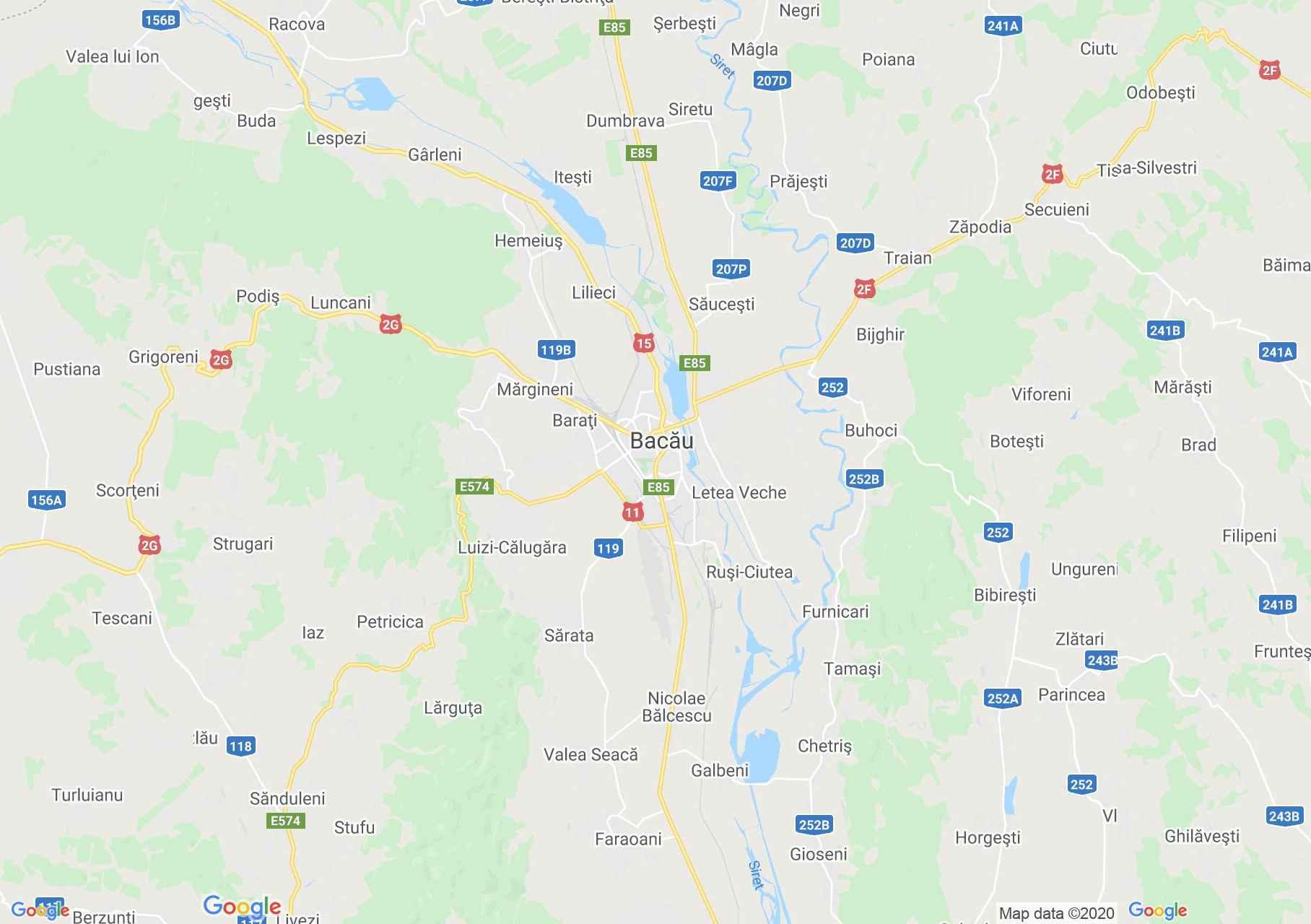 Zona Bacău, Harta turistică interactivă